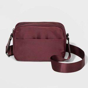 Crossbody Bag Purse A New Day Burgundy Nylon NEW